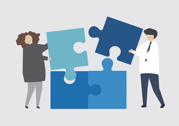 Teamarbeit, die puzzlestück verbindet Kostenlosen Vektoren