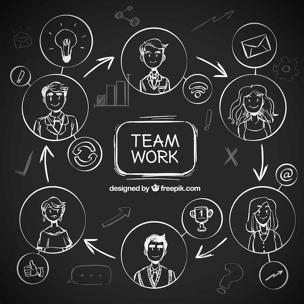 Teamarbeit konzept auf tafel Kostenlosen Vektoren