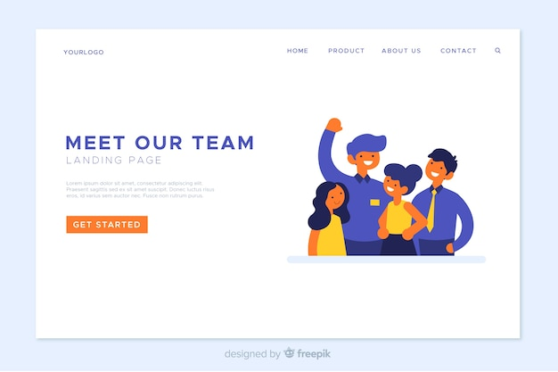 Teamarbeit landing page vorlage Kostenlosen Vektoren