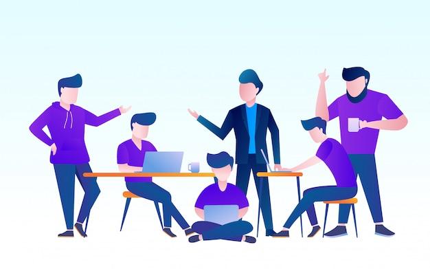 Teamarbeit über projekt diskutieren. leute, die mit laptopvektor-designillustration arbeiten Premium Vektoren