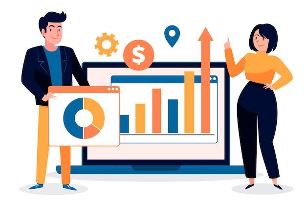 Teamarbeit zur analyse von wachstumscharts Kostenlosen Vektoren