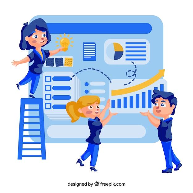 Teamarbeitskonzept mit flachem design Kostenlosen Vektoren