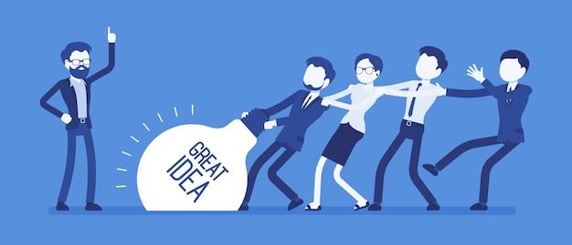 Teamaufstand tolle idee. junges kreativteam, das einen super neuen projektplan erstellt, mit mühe zieht, alle kraft, zeit und energie einsetzt und zusammenarbeitet. illustration mit gesichtslosen zeichen Premium Vektoren
