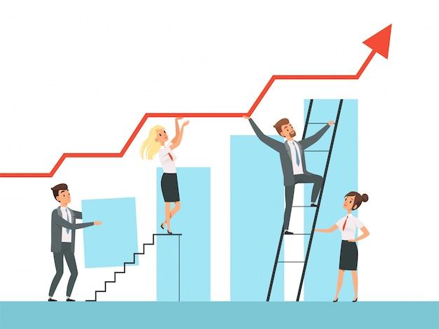 Teambildung. geschäftsführer wachsen treppe zu ihren mentor-führer-konzeptcharakteren auf Premium Vektoren