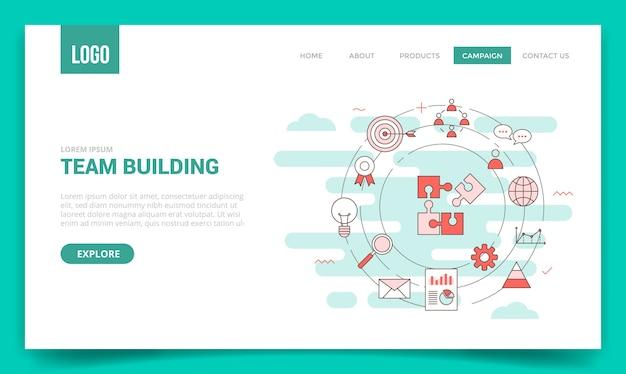 Teambuilding-konzept mit kreissymbol für website-vorlage Premium Vektoren