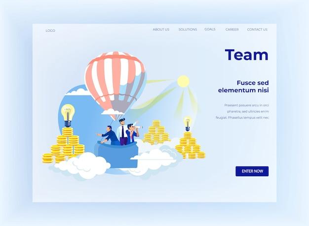 Teambuilding und coworking design landing page Premium Vektoren