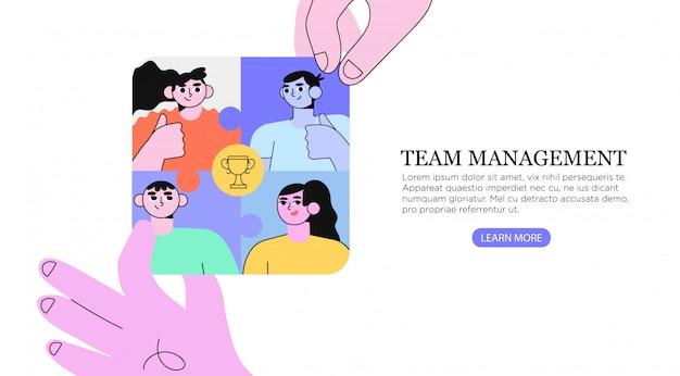 Teambuilding und erfolg. Premium Vektoren