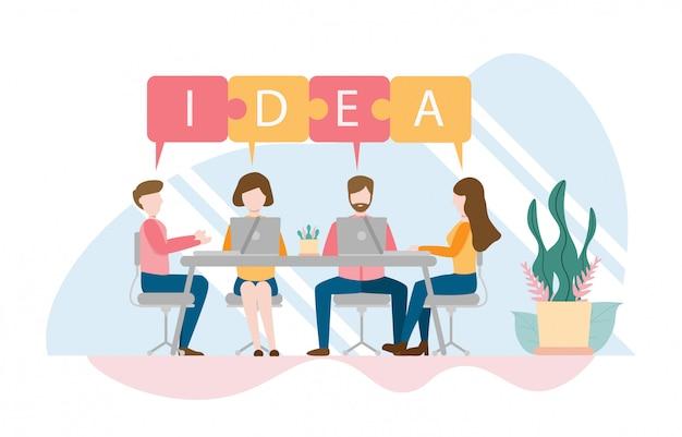 Teamdenken und brainstorming-konzept mit charakter Premium Vektoren