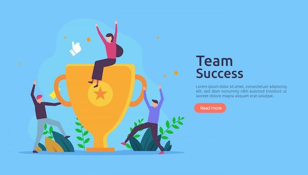 Teamerfolg mit pokal. gewinnendes teamwork-konzept. Premium Vektoren