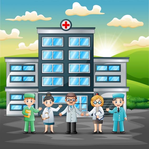 Teamkonzept des medizinischen personals vor krankenhaus Premium Vektoren