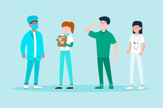 Teamkonzept für angehörige der gesundheitsberufe Kostenlosen Vektoren