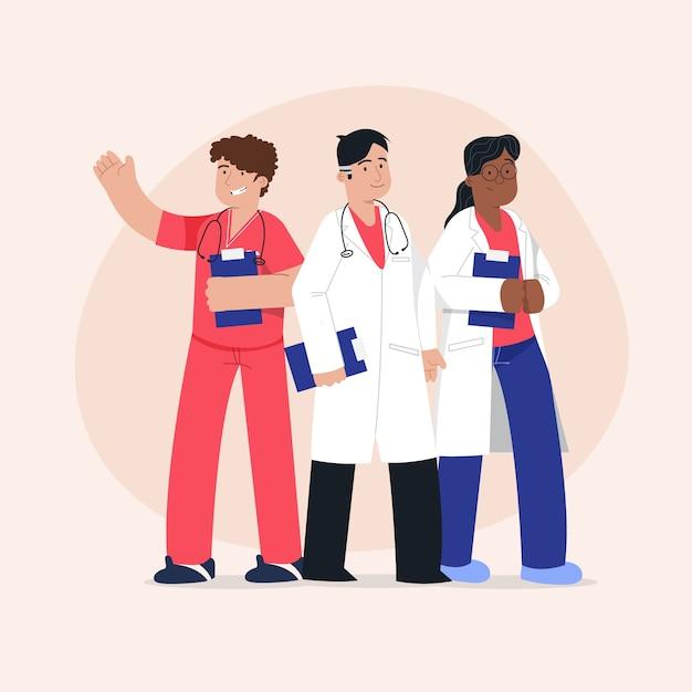Teampaket für angehörige der gesundheitsberufe Kostenlosen Vektoren