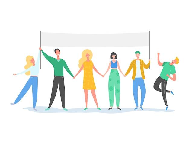 Teamwork-charaktere, die in der schlange stehen und texttafel halten. lächelnde menschenillustration. freundschaft, führung, geschäftsteam, konzept der sozialen vielfalt Premium Vektoren