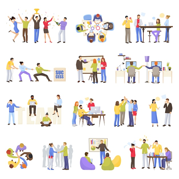 Teamwork icons set Kostenlosen Vektoren