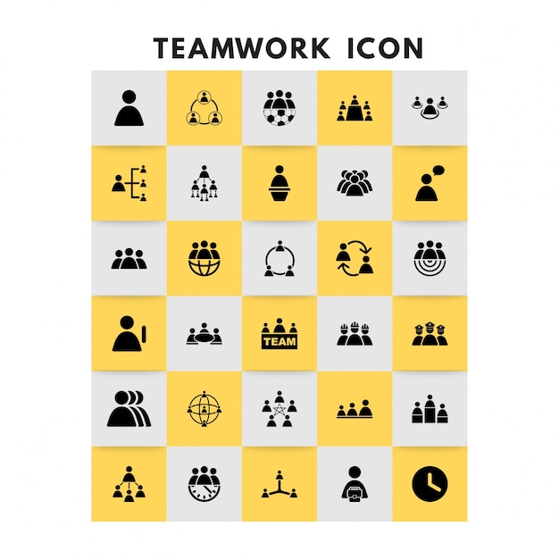Teamwork icons vektor-set Kostenlosen Vektoren