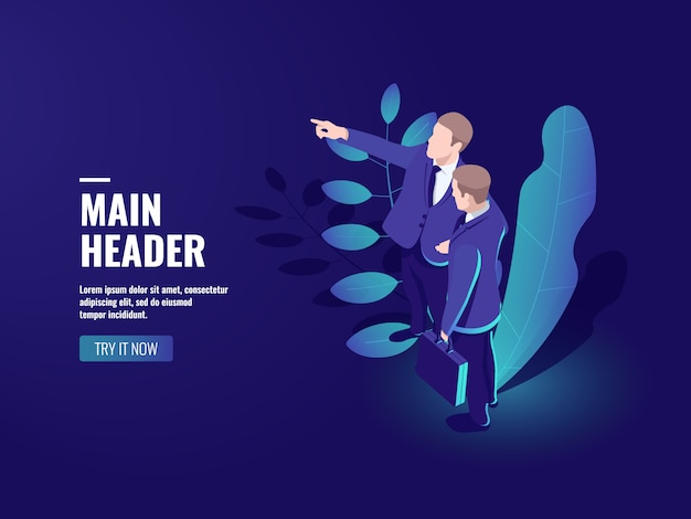 Teamwork-ikone, zwei geschäftsleute sprechen, teamleiter, erfolgreiches leutekonzept Kostenlosen Vektoren