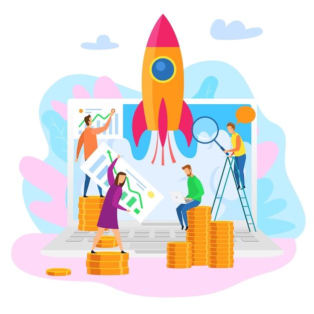 Teamwork-karikatur-leute erforschen perspektiven-wachstum Premium Vektoren
