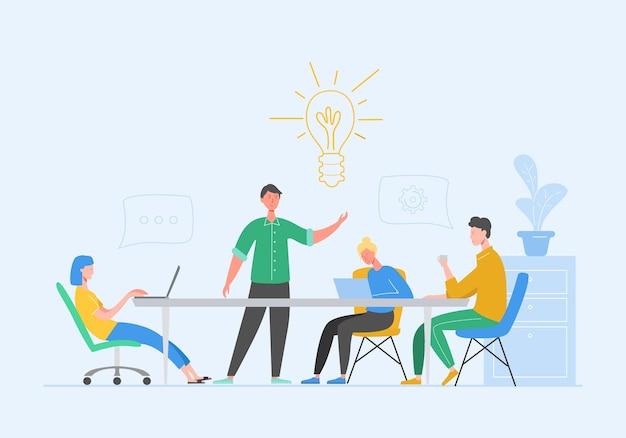 Teamwork-konzept für geschäftstreffen. geschäftsmann und frau charaktere mit laptop. kollegen charaktere, die brainstorming kommunizieren, diskussionsidee. flache karikaturillustration Premium Vektoren