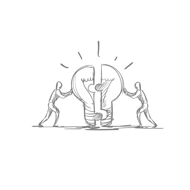 Teamwork-konzept-hand gezeichnete geschäftsleute brainstom light bubl new idea symbol Premium Vektoren