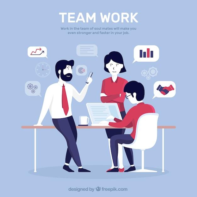 Teamwork-konzept mit flachem design Kostenlosen Vektoren
