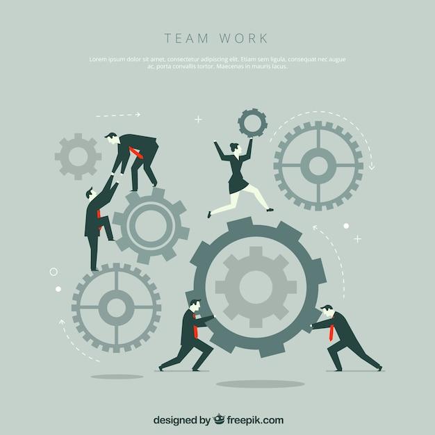 Teamwork-Konzept mit Gangrädern und Geschäftsleuten Kostenlose Vektoren