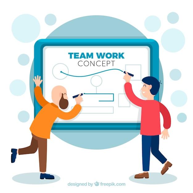 Teamwork-konzept mit geschäftsdarstellung Kostenlosen Vektoren