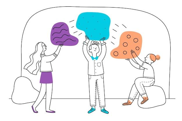 Teamwork-konzept mit handgezeichneten personen Kostenlosen Vektoren
