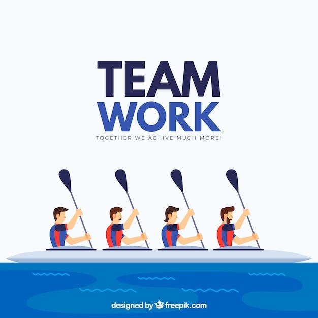Teamwork-konzept mit kanu Kostenlosen Vektoren