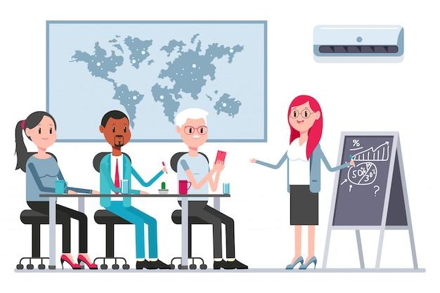 Teamwork-konzeptillustration mit mitarbeitern und frauenchef im sitzungssaal. vektorkarikaturgeschäftspersonenzeichen. Premium Vektoren