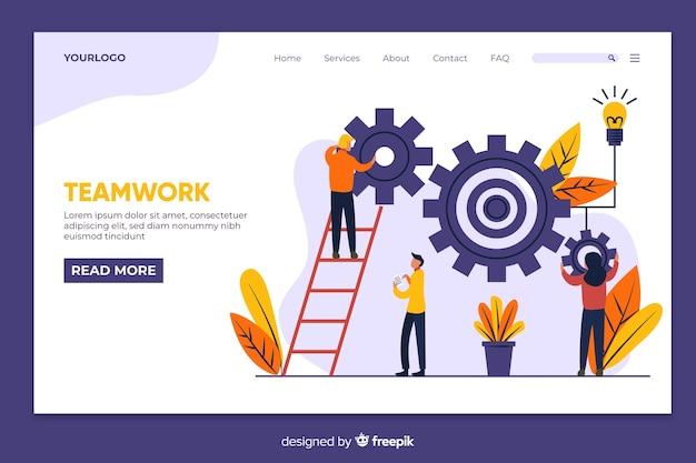 Teamwork-landingpage mit illustrierten charakteren Kostenlosen Vektoren