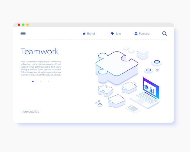 Teamwork-landingpage-vorlage Premium Vektoren