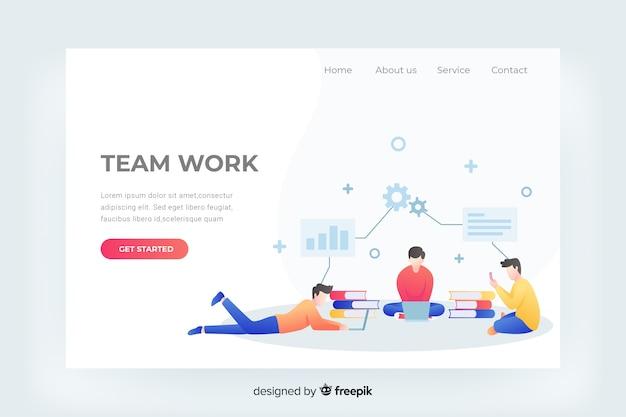 Teamwork-landingpage-webvorlage Kostenlosen Vektoren
