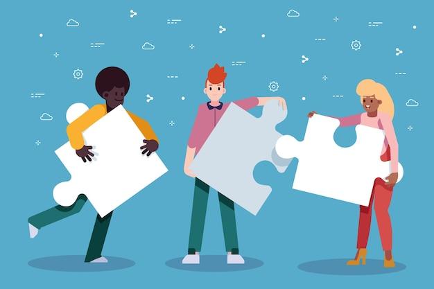 Teamwork-leute, die ein puzzlespiel schaffen Kostenlosen Vektoren