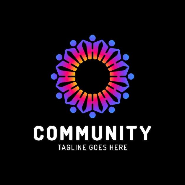 Teamwork menschen kreis logo vorlage, soziale gemeinschaft. Premium Vektoren