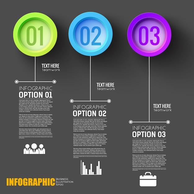 Teamwork schritte infografik schwarz layout mit nummerierten schaltflächen Kostenlosen Vektoren