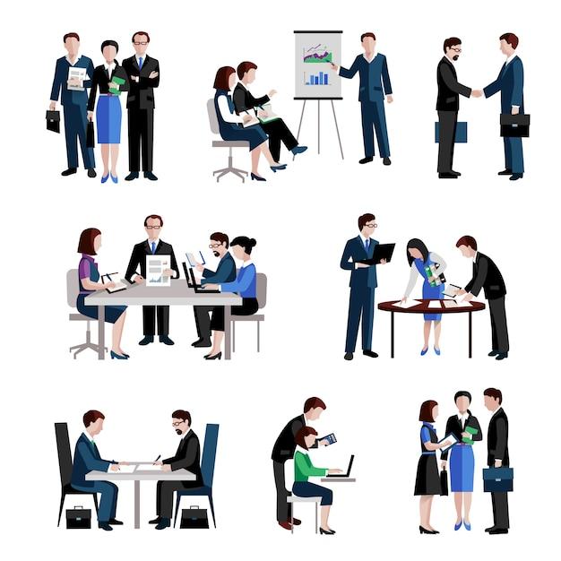 Teamwork-Symbole festgelegt Kostenlose Vektoren