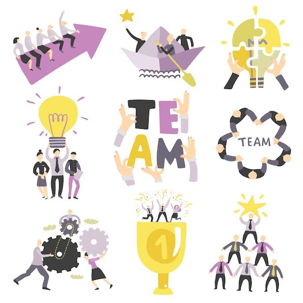Teamwork-symbolsatz Kostenlosen Vektoren