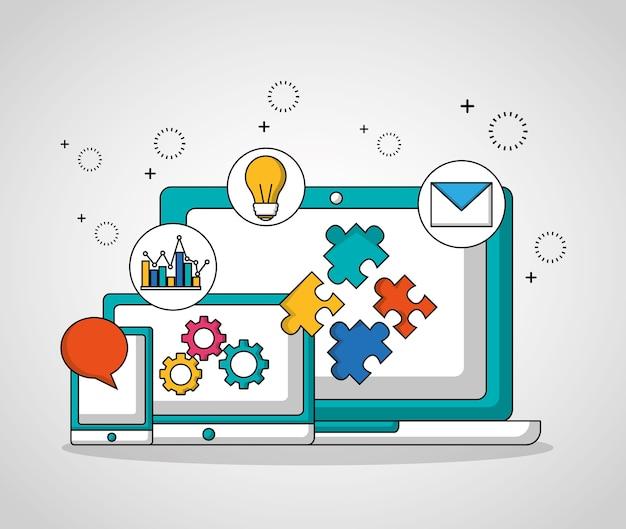 Teamwork technologie geräte getriebe einstellungen Premium Vektoren