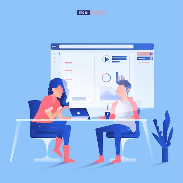 Teamwork und entwicklungskonzept. mann und frau diskutieren über eine website-anzeige, die aus einem tablet hervorgeht. Premium Vektoren