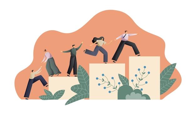 Teamwork und teambildung Premium Vektoren