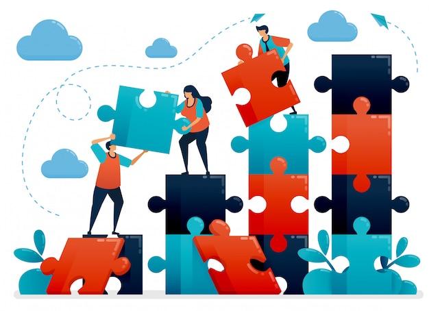Teamwork und zusammenarbeit durch das lösen von rätseln. metaphern verstehen geschäftsdiagramm. kooperieren für unternehmen. herausforderungen und probleme. Premium Vektoren