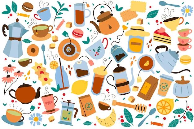 Teatime doodle set. sammlung von bunten teekannenbeuteln kesselkekse und honig lokalisiert auf weiß. ungesunde ernährung mit koffeinkarikaturillustration. Premium Vektoren