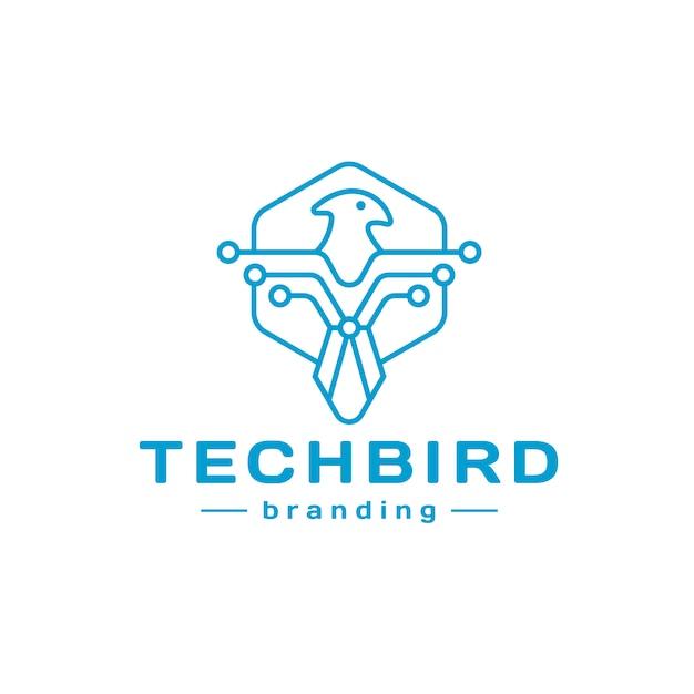 Tech bird line logo design Premium Vektoren