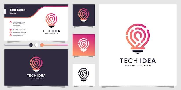 Tech idee logo und visitenkarte mit modernen farbverlaufslinienstil Premium Vektoren