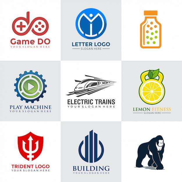 Tech logo design kollektionen Premium Vektoren