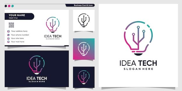 Tech-logo mit kreativem ideen-strichgrafikstil und visitenkarten-design-vorlage, technologie, idee, intelligent Premium Vektoren
