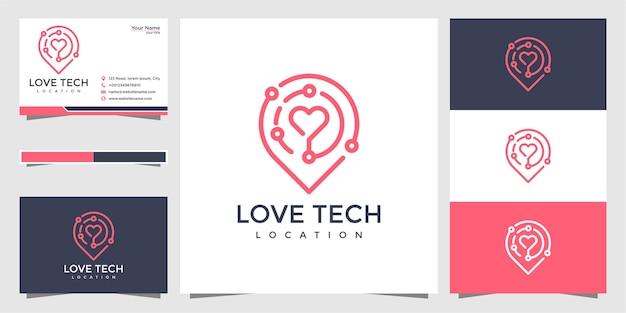 Tech love pin logo und visitenkarte Premium Vektoren