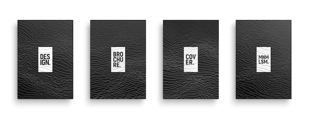 Tech minimalistischen stil broschüre covers set Premium Vektoren
