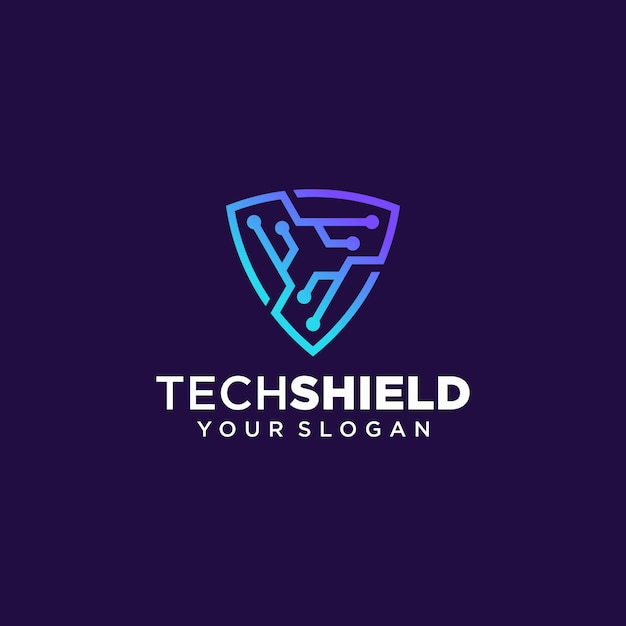 Tech shield logo design vektor vorlage Premium Vektoren