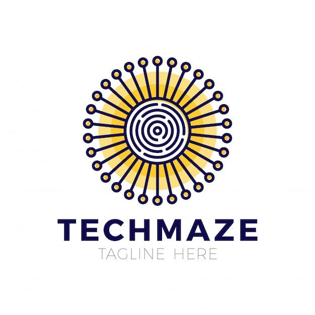 Tech sun labyrinth konzept logo vorlage Premium Vektoren